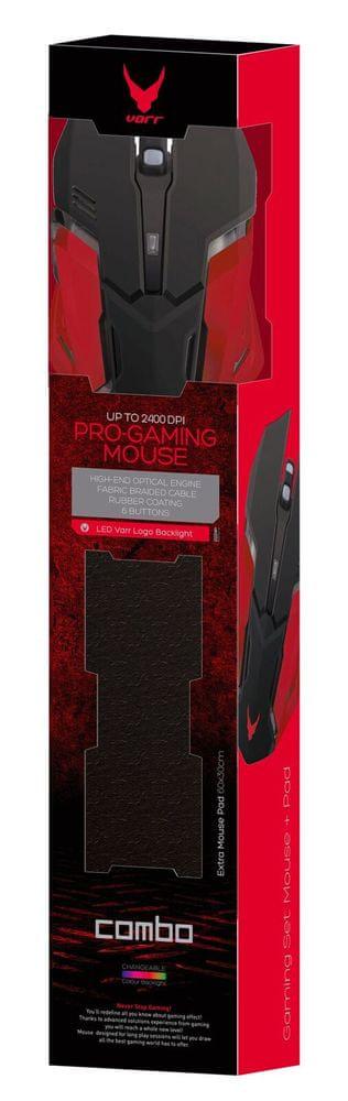 VARR Gaming set, Gaming Mouse 800 - 2400 dpi, Led Logo, 6 button + mouse pad 60x30 cm