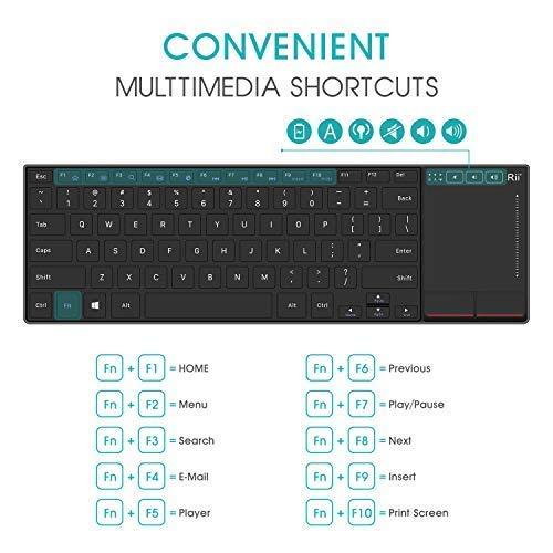 Rii mini K22 comfortabel slim-size keyboard met functietoetsen en touchpad (2.4G), rechargeable 295 * 137 * 19mm, 280 mAh accu