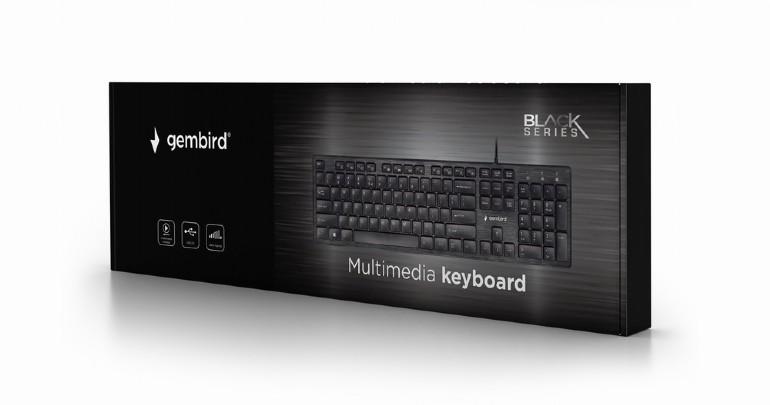 Gembird multimedia toetsenbord USB- chocolate - zwart, supersilent en comfortabel 12 multimedia keys