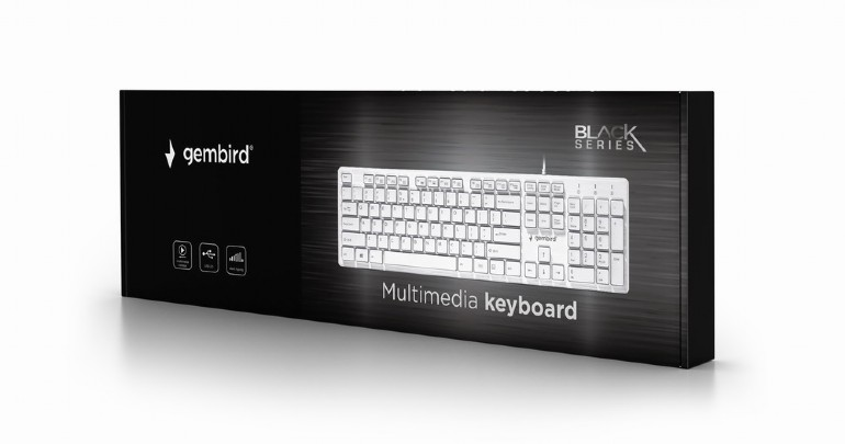 Gembird multimedia toetsenbord USB- chocolate - wit, supersilent en comfortabel 12 multimedia keys
