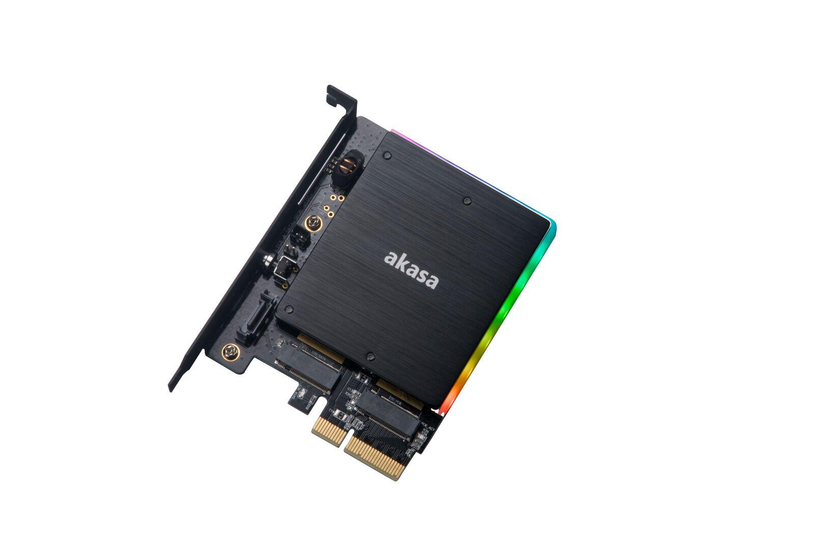 Akasa M.2 PCIe and M.2 SATA SSD adapter card with RGB LED light and heatsink