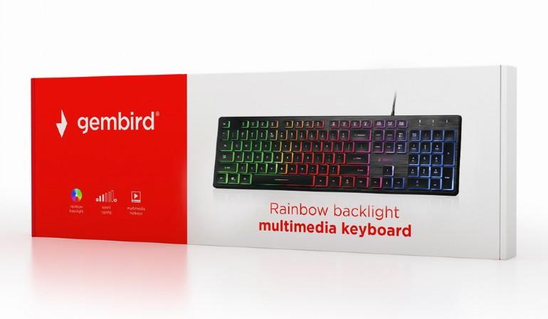 Gembird Multimedia toetsenbord - Rainbow - met BackLight (ON/ OFF/ BREATH), 1,45 m cable