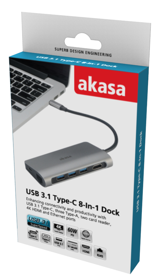 Akasa USB 3.1 Type C 8 In 1 Dock (Power Delivery Type Cx1,USB3.1Type A x 3/SD,Micro SD Card Reader/4K HDMI/GbE)