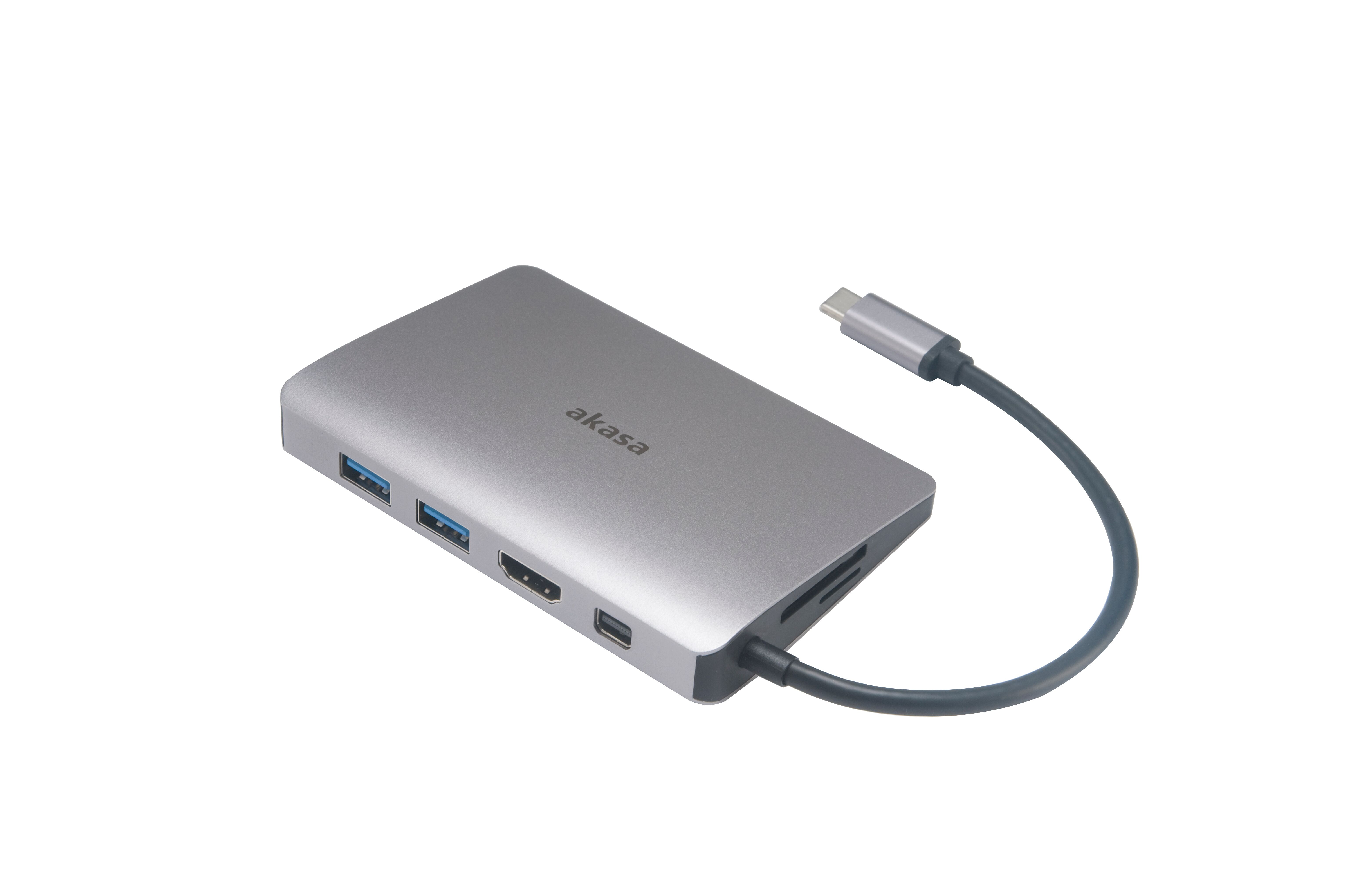 Akasa USB 3.1 Type C 9 In 1 Dock (Power Delivery Type Cx1,USB3.1Type A x 2/SD,Micro SD Card Reader/4K HDMI/GbE/ Mini DP/Audio)