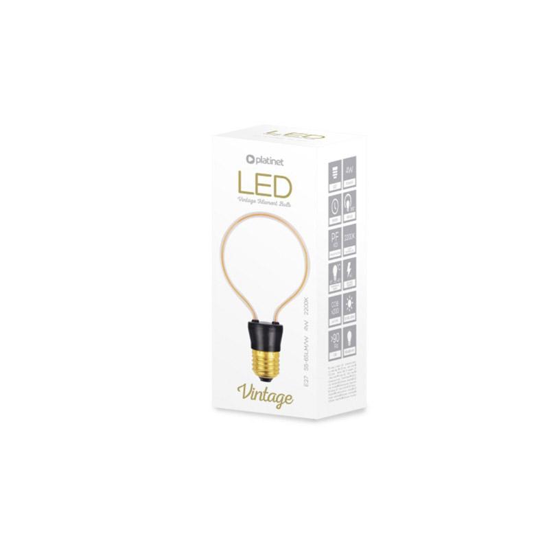 Platinet decoratieve LED lamp - GLASS ART - geinspireerd op de lampen van Thomas Edison, CIRCLE, 4W 230V 2200K E27