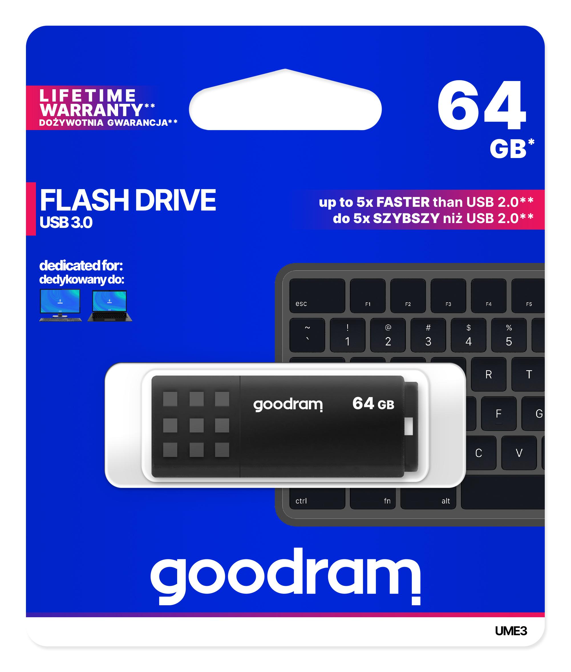 GOODRAM USB3.0 Flash Drive, 64 GB, UME3, USB A connector, Black, 60/20 MB/s (USB3/2/1.1 comp)