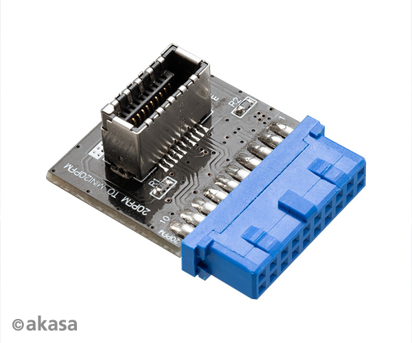 Akasa Convert a USB 3.0 19-pin motherboard header into a USB 3.1 20-pin Key A connector
