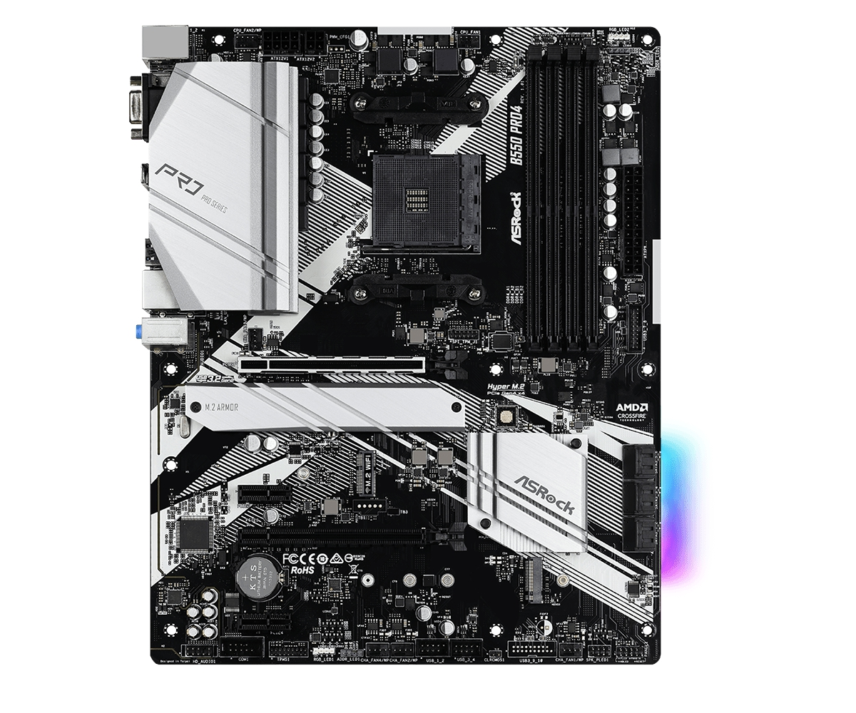 Asrock B550-Pro4, ATX, AM4, 4xDDR4, 6x SATA3, 2x M.2,, 2x USB3.2 gen2, 6 x USB3.2 gen1, Realtek Gigbit LAN