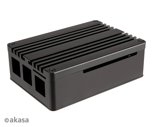 Akasa Gem Pro Pi-4 Extended Aluminium case with Thermal Modules for Raspberry Pi 4 Model B, Full I/O opening support.