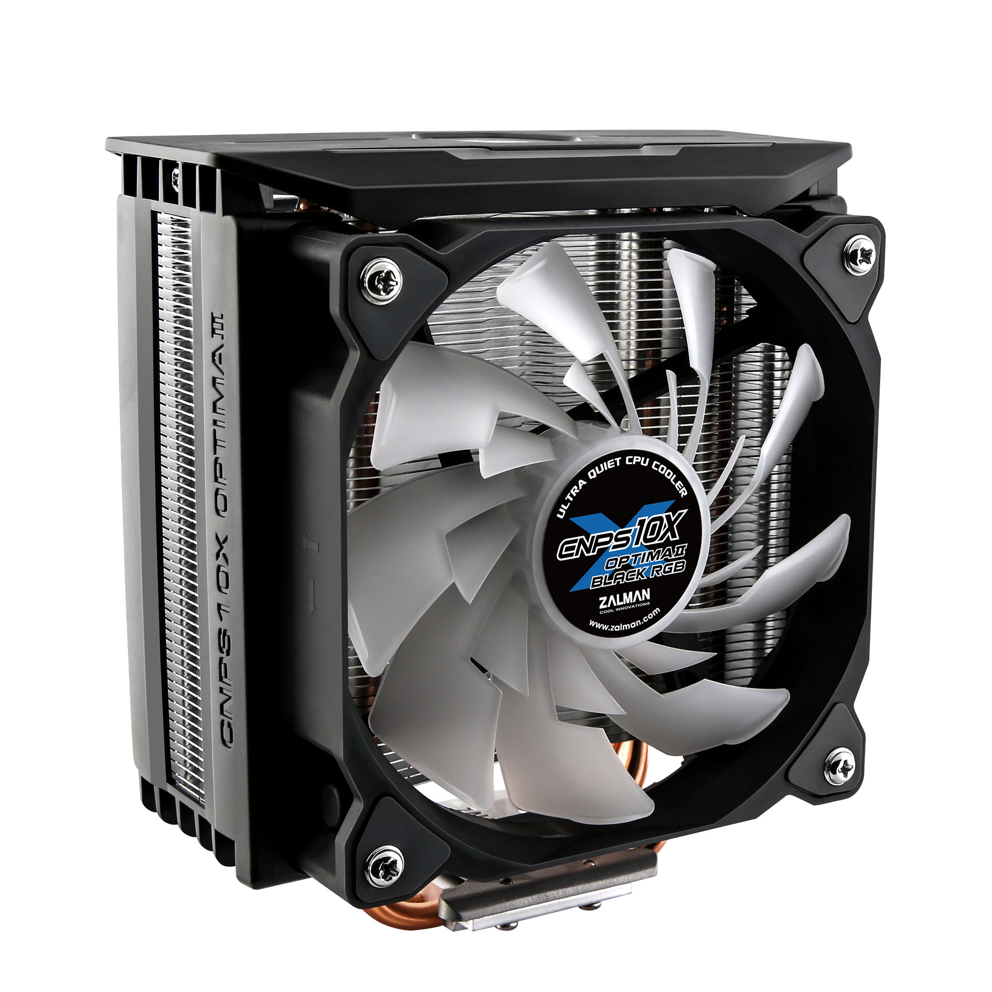 Zalman CNPS10X OPTIMAII BLACK RGB, CPU cooler, 120mm RGB PWM Fan / - RGB Spectrum 1,350 -2,100RPM, 18 -28.0dBA, Intel LGA 2066, 2011-V3 115x, 1200, 1366, AMD AM4, AM3+, AM3,, FM2+, FM2