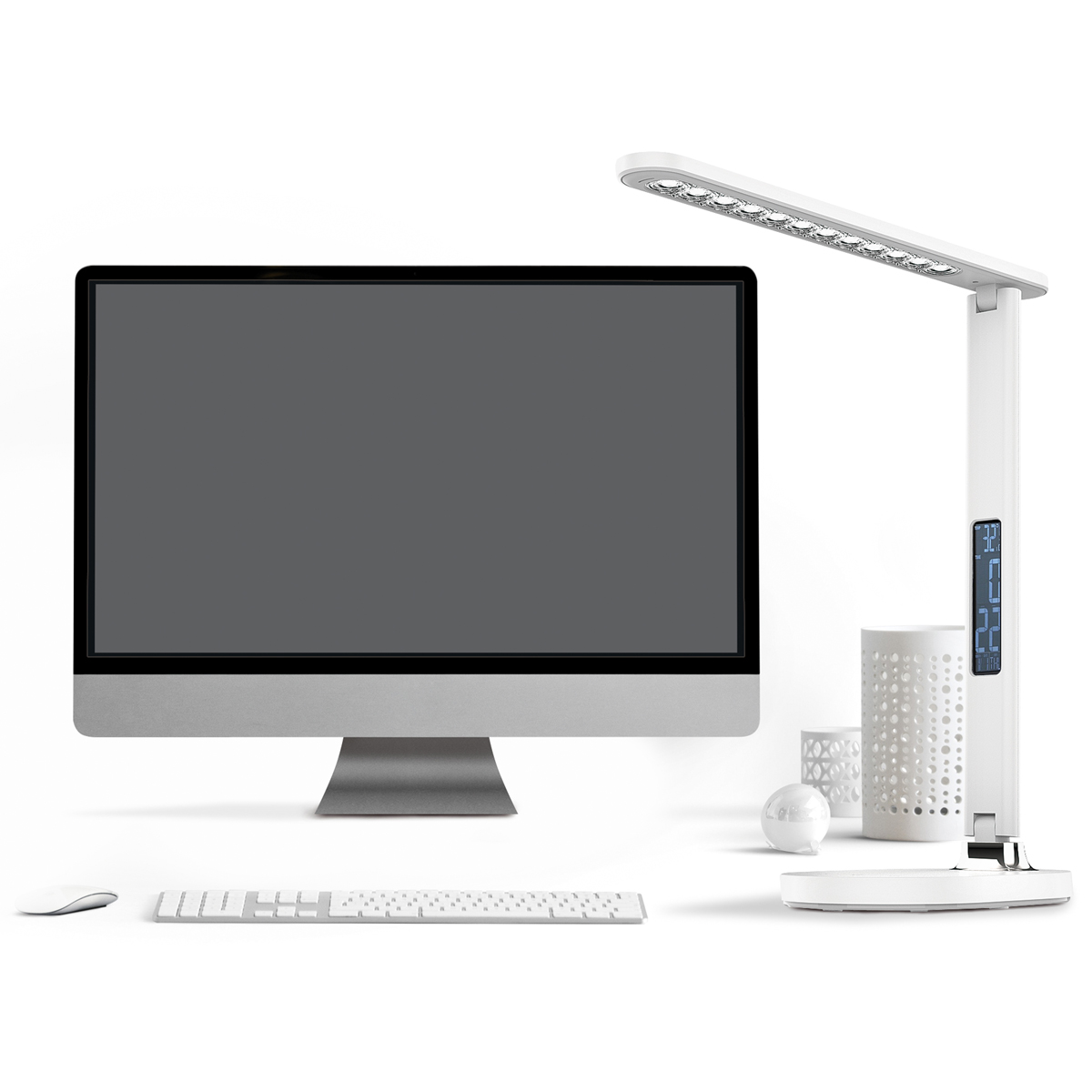 Platinet bureaulamp met alarmklok (met snooze functie) / kalender wit, LED 4000K, 700lm