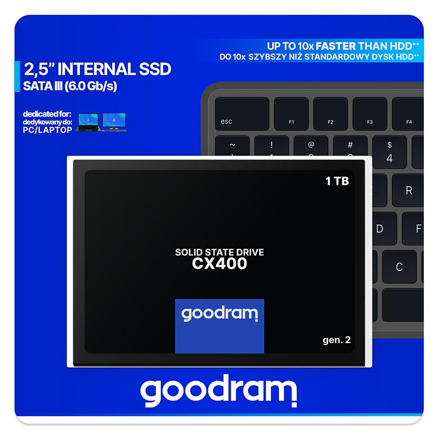 GOODRAM CX400 gen.2, SSD 2.5, 1 TB SATA III, 3D TLC, Retail, 550/500 MB/s