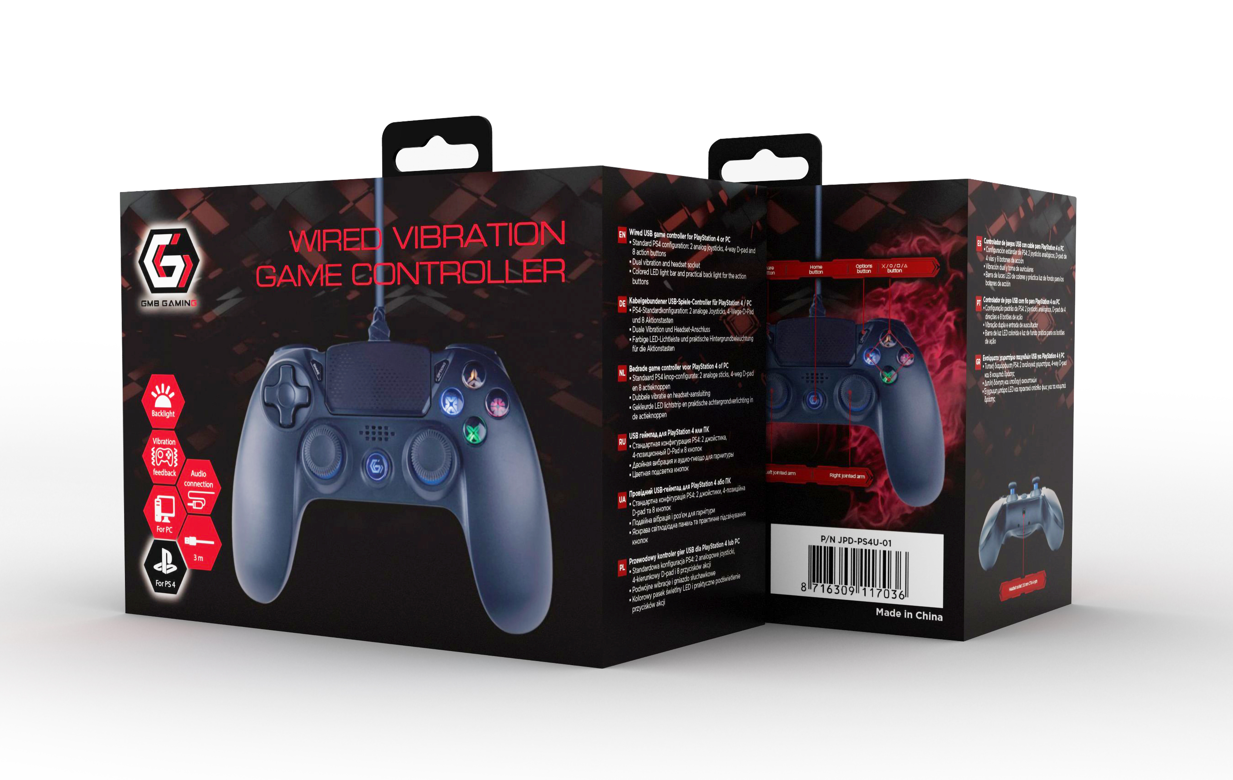 Gembird bedrade game controller voor PlayStation 4 of PC - dual vibration and headset socket