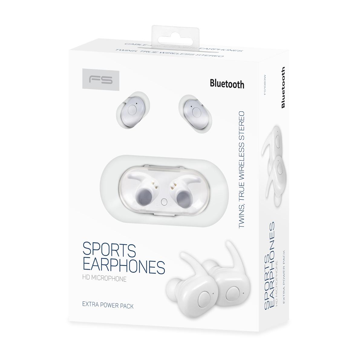 Freestyle Bluetooth v 5.0 in-ear sport headphones inc oplaadstation wit
