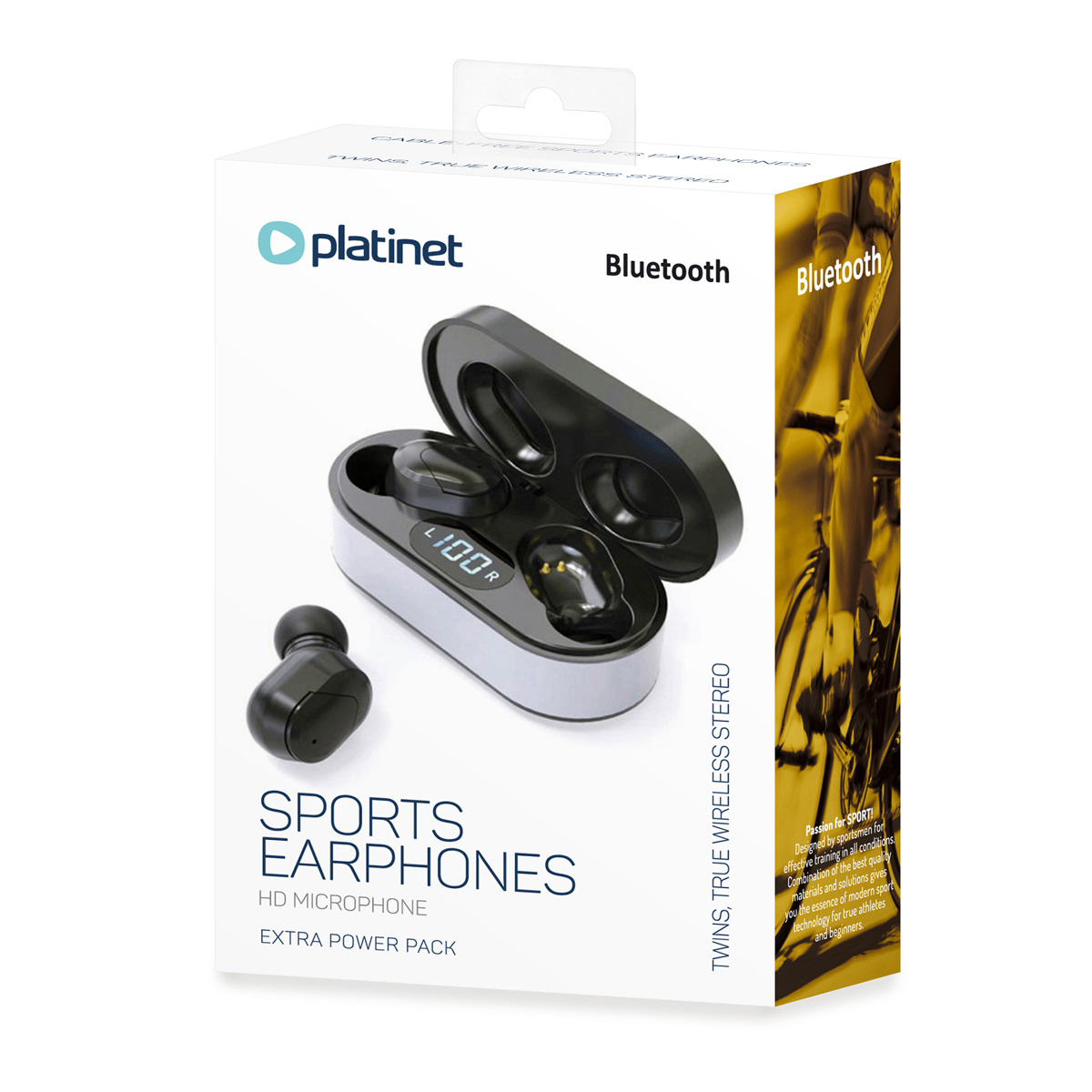 Platinet Bluetooth V5.0 in-ear earphone with microphone - wireless 40 mAh +charging station 300 mAh black LED display playing time up to 4 hours
