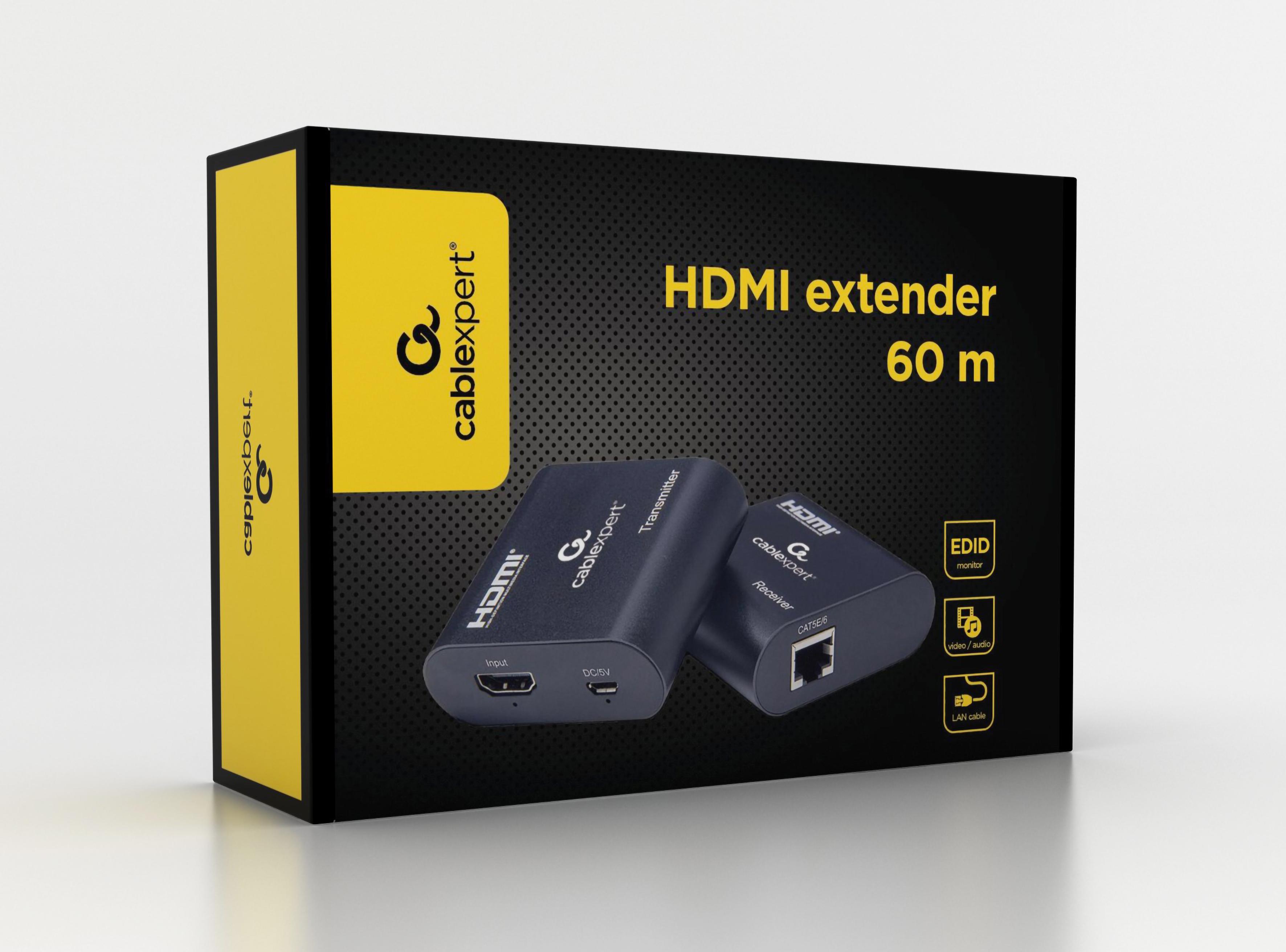 Gembird Actieve HDMI verlenger set, max 60 meter over CAT6 (niet inbegrepen), voeding: micro USB 3W (niet inbegrepen)