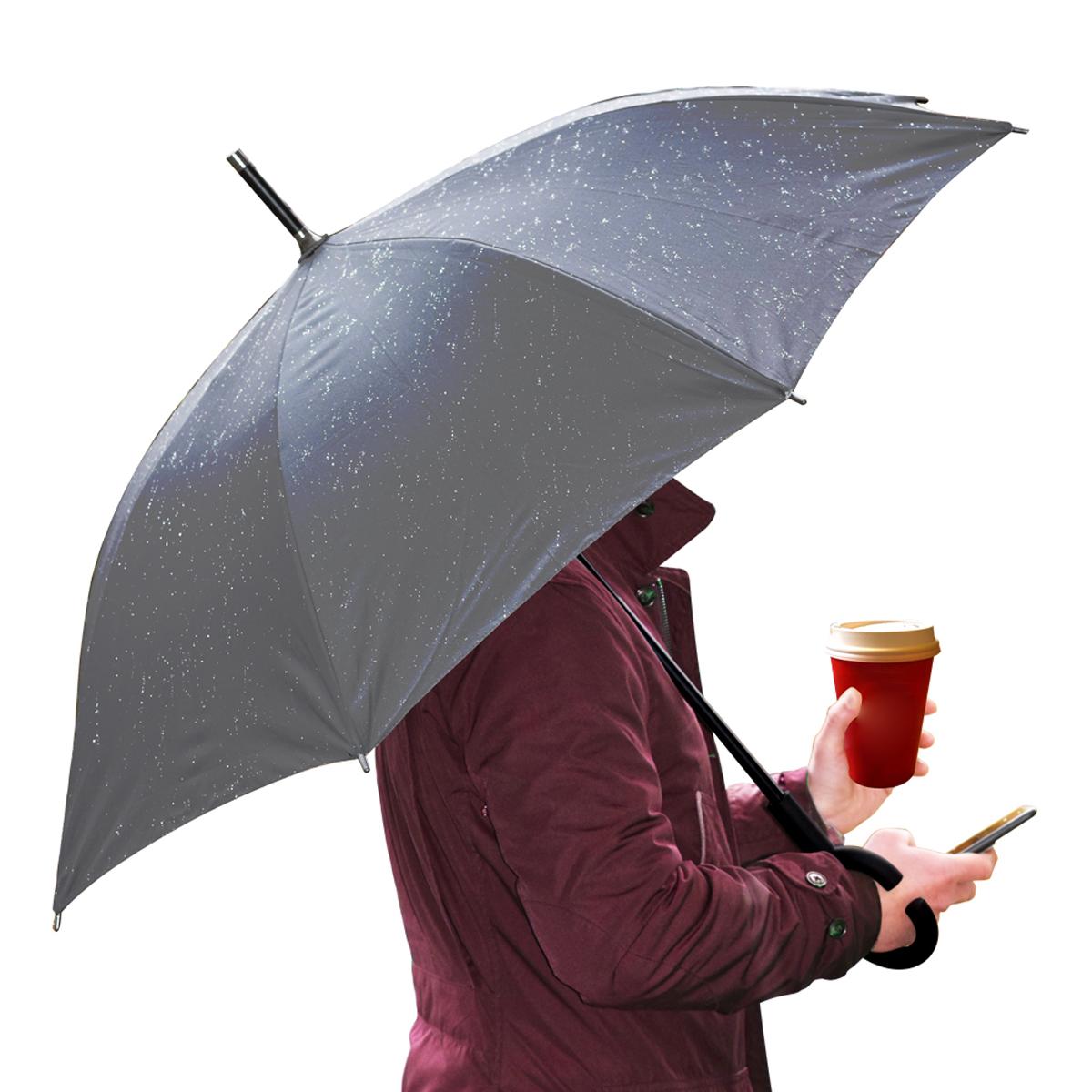Platinet paraplu, ZWART, met polshandle zodat je je handen vrijhoudt! Nylon