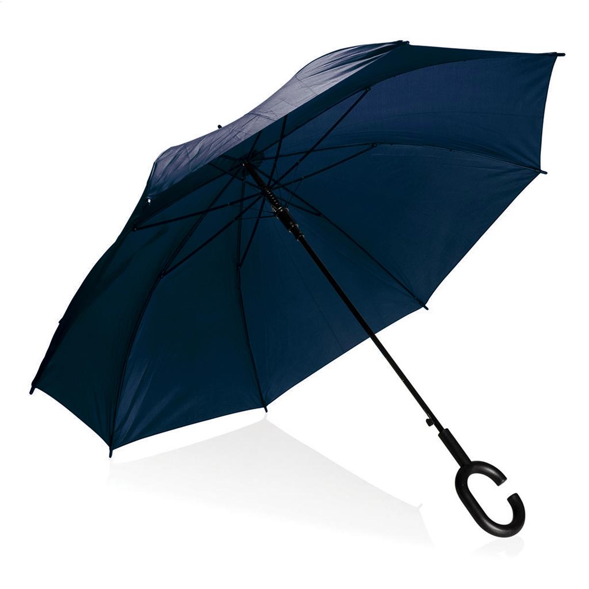 Platinet paraplu, BLAUW, met polshandle zodat je je handen vrijhoudt! Nylon