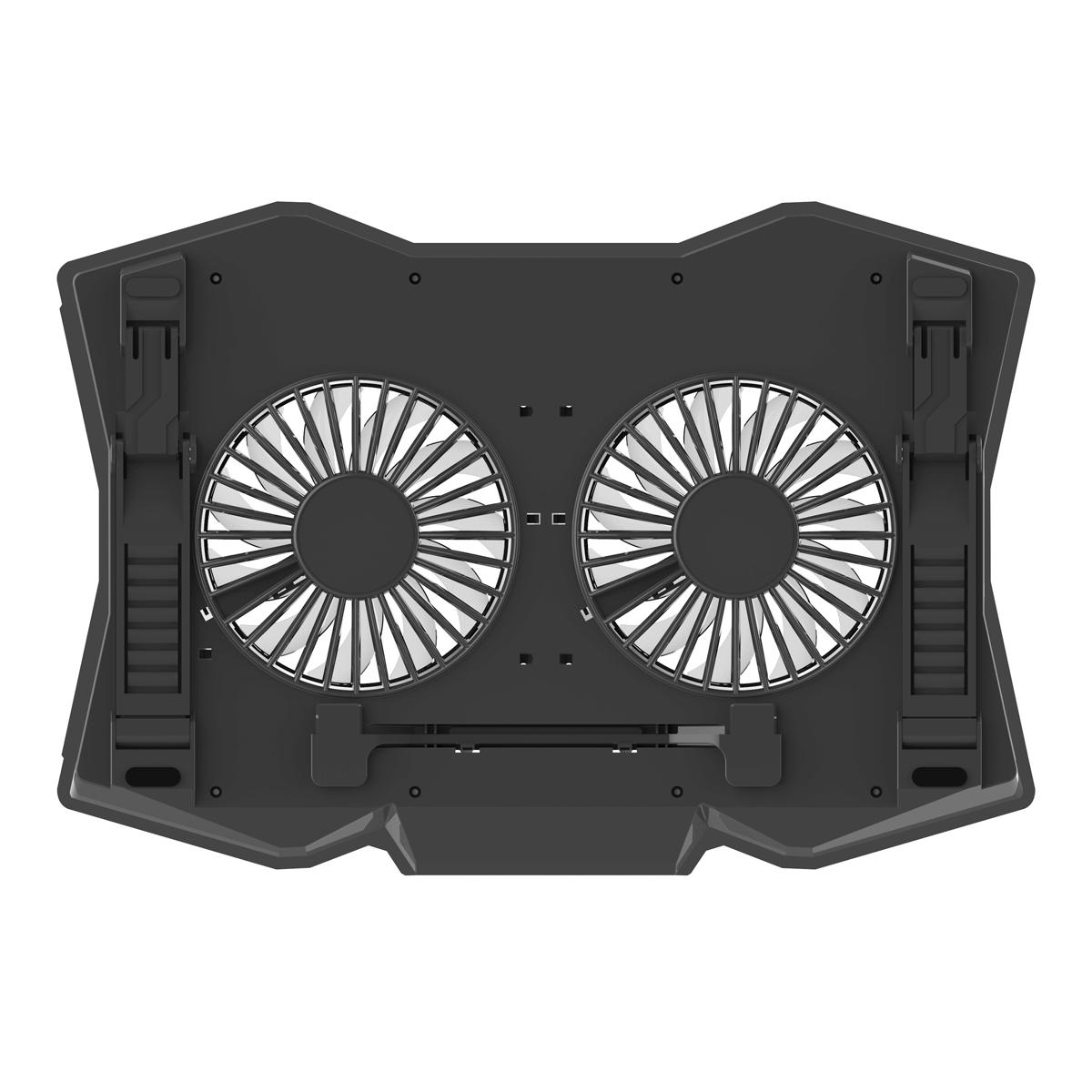 Omega Laptop Cooler pad voor laptops van 10 tot 18 inch, 410*280*34mm - 2 fans - 6,5 tot 45 graden tilt