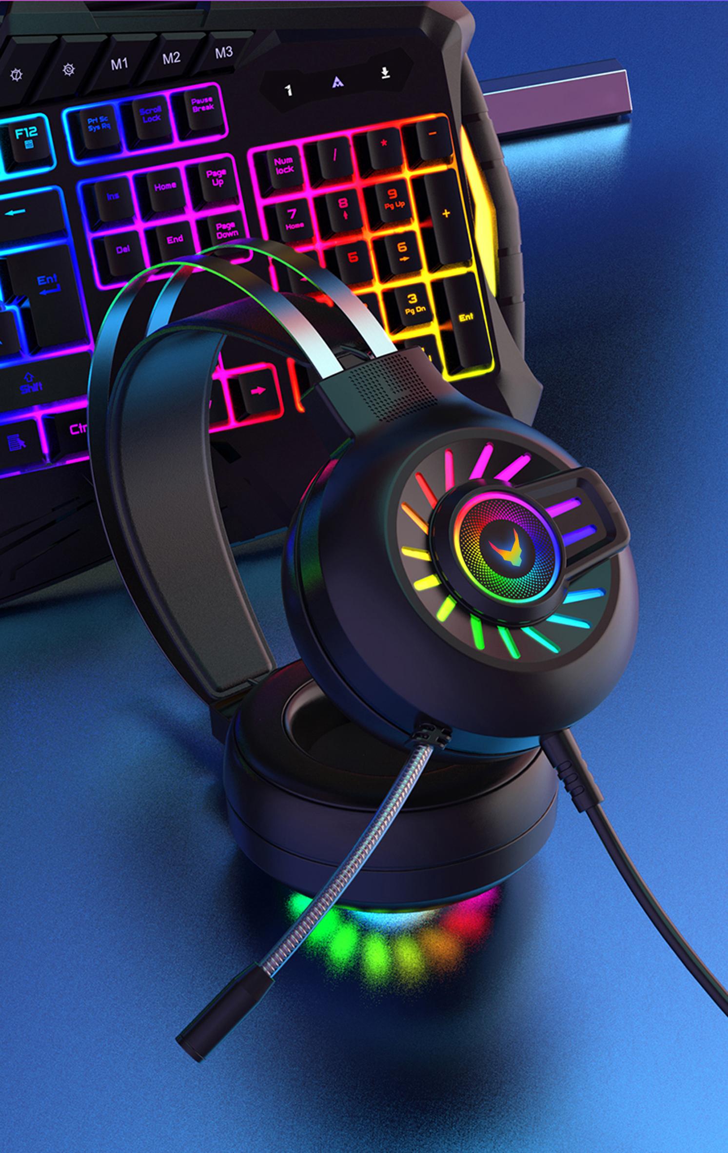 VARR Gaming RGB headset met microfoon, 2 meter kabel, USB (rgb) en 3,5 mm (audio) - VH8040 - ZWART