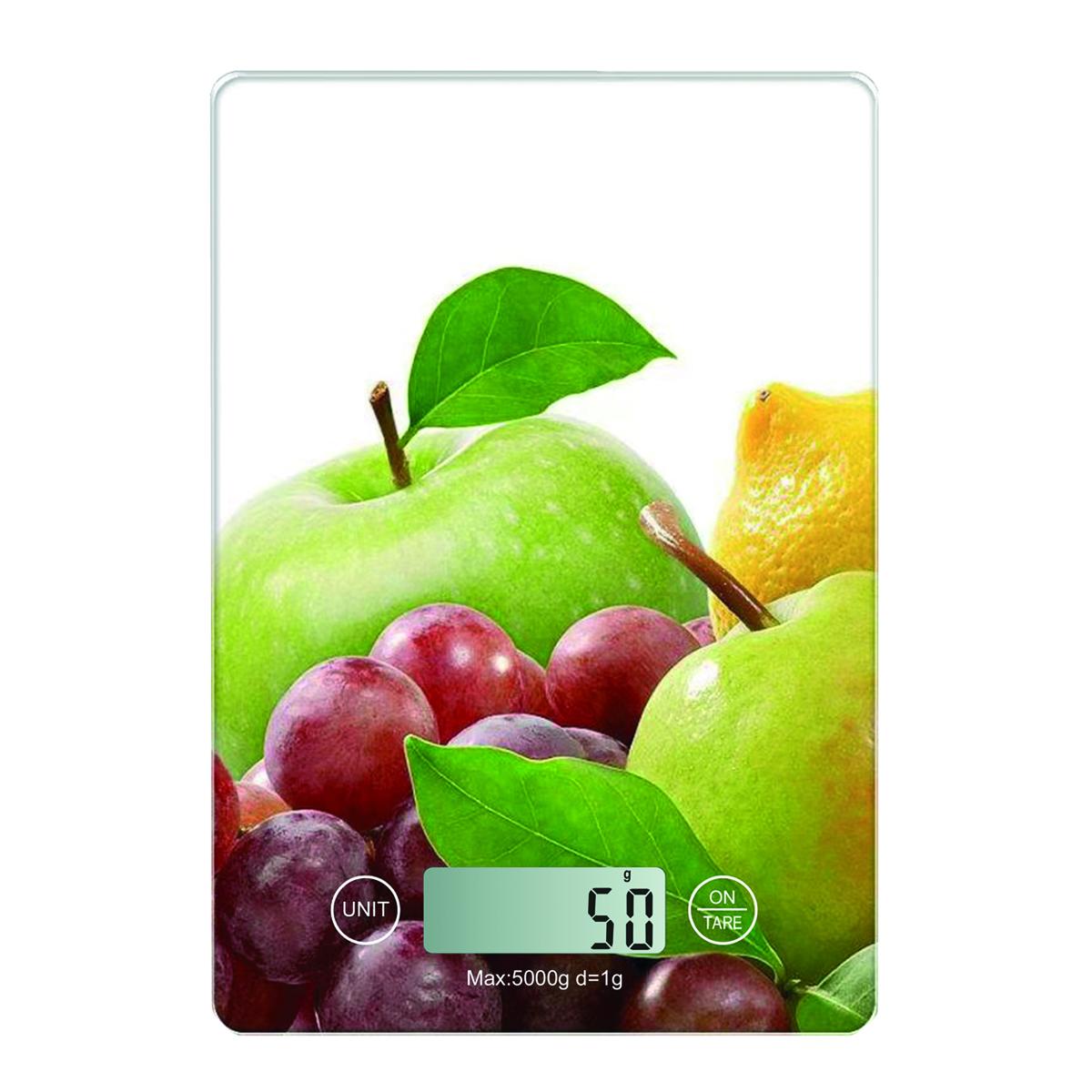 Keukenweegschaal - fruit -, 2x AAA (niet inbegrepen), max 5kg, nauwkeurigheid: 1g, auto on/off