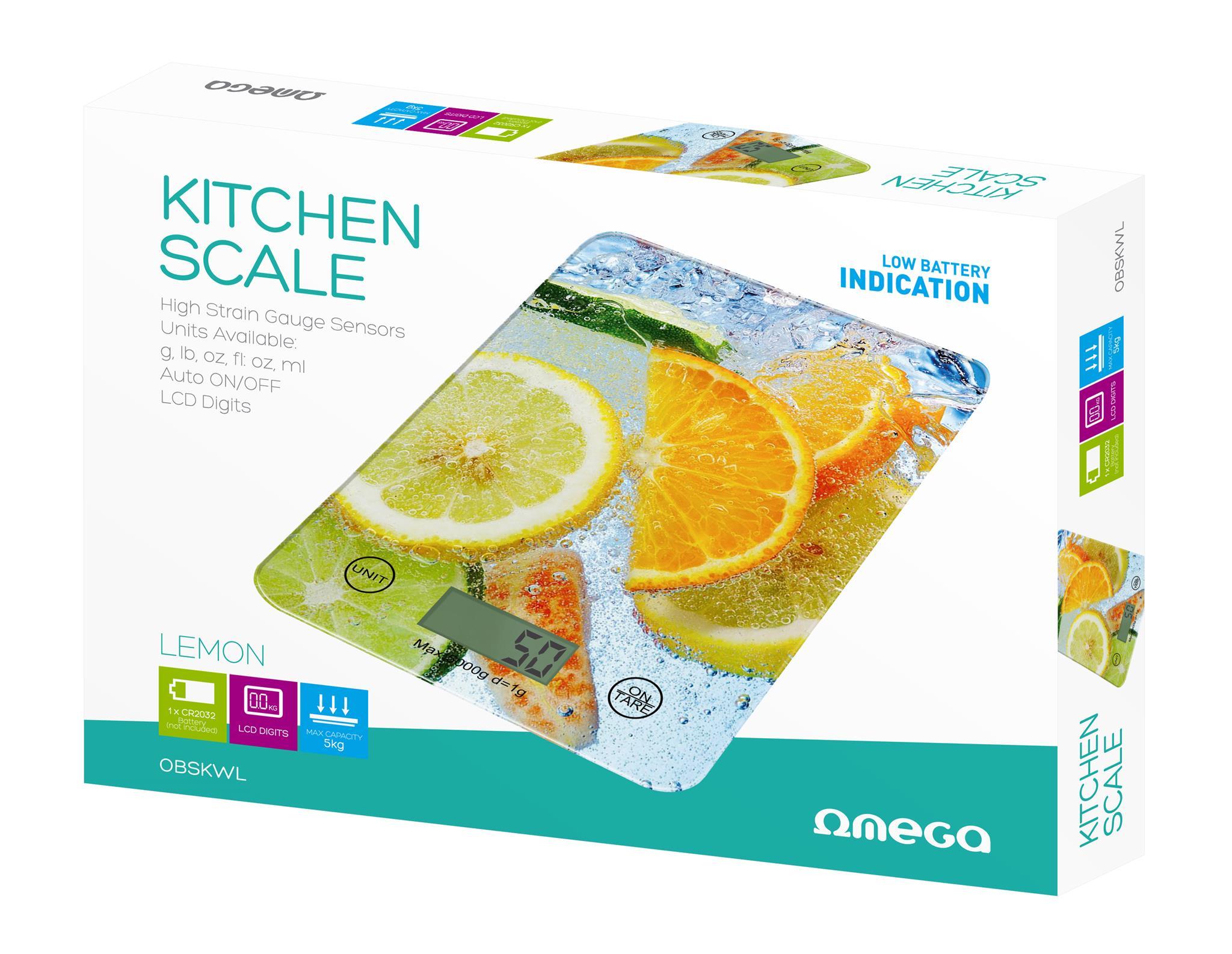 Keukenweegschaal - citrusvruchten -, 1x CR2032 (inbegrepen), max 5kg, nauwkeurigheid: 1g, auto on/off