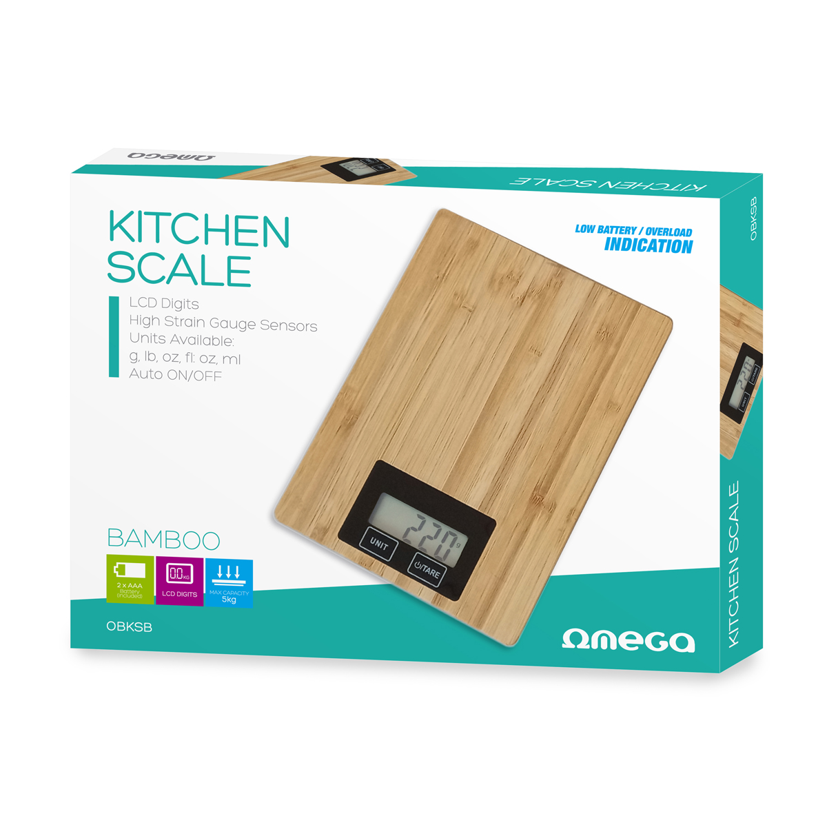 Keukenweegschaal - bamboe -, 2x AAA (niet inbegrepen), max 5kg, nauwkeurigheid: 1g, auto on/off