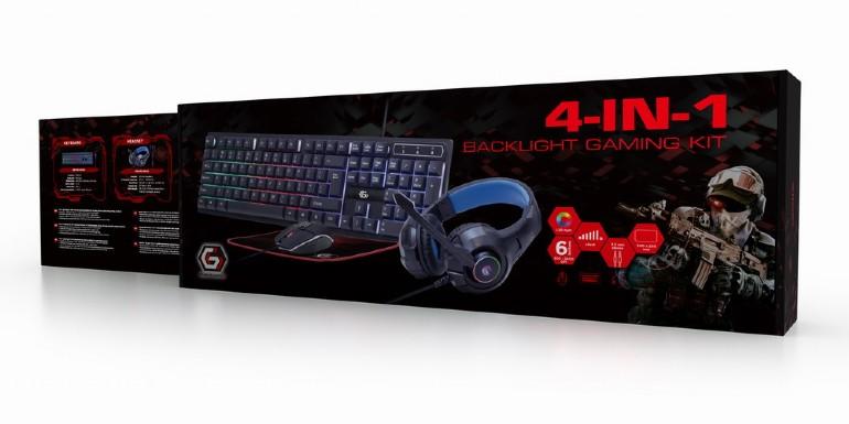 Gembird 4-in-1 backlight gaming kit - Ghost -, keyboard, muis, headset en muismat in Gembird Gaming design