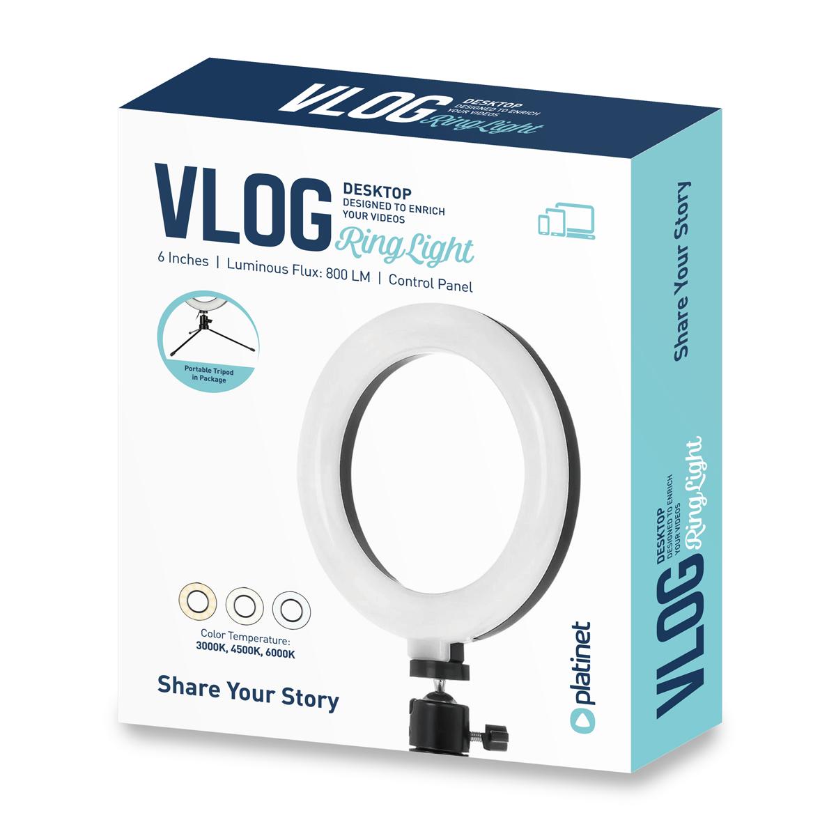 Platinet 6 inch Vlog LED ringlamp (48 LEDs) op driepoot (14,5cm) - 3000K-4500K-6000K instelbaar, 1,9m USB kabel met schakelaar inbegrepen