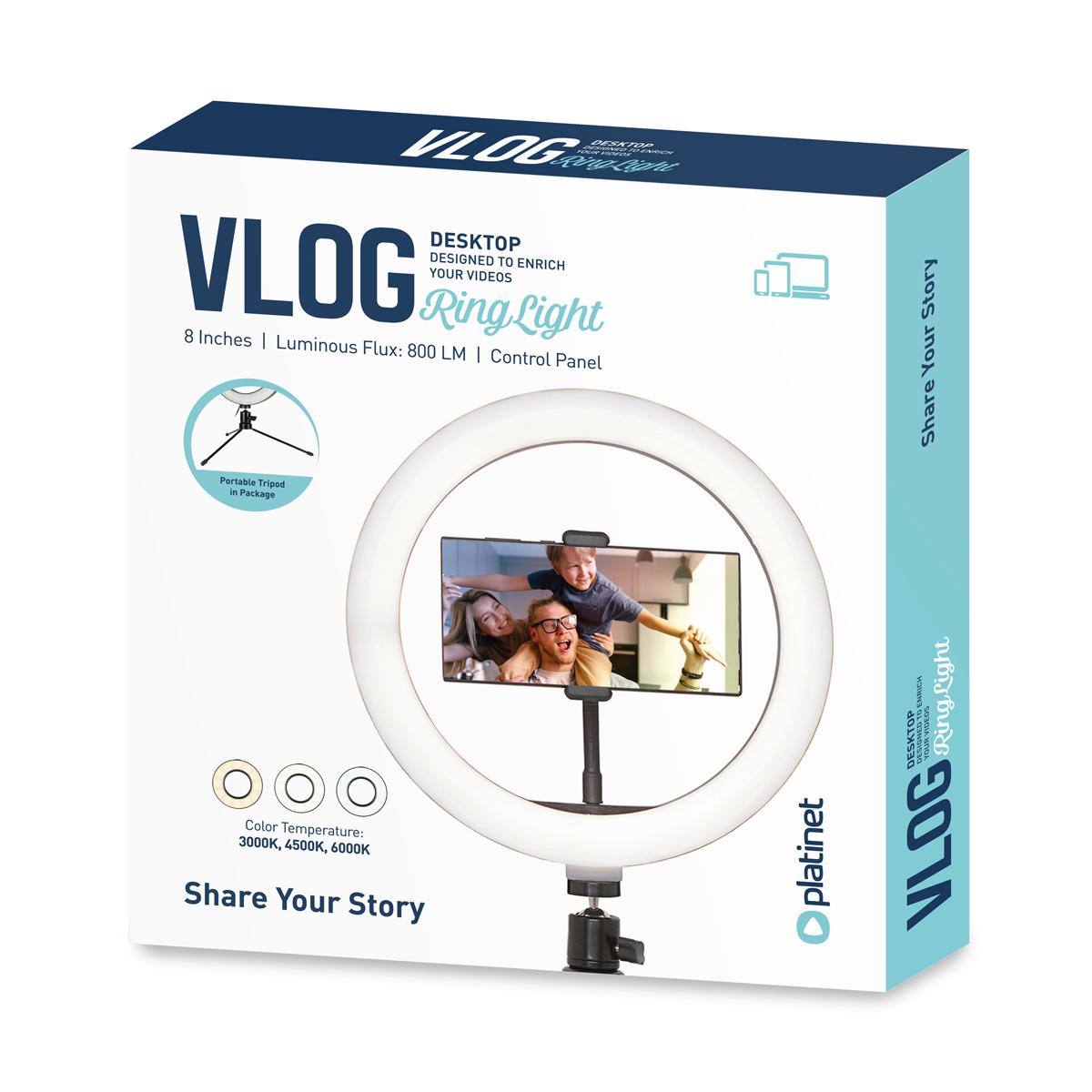 Platinet 8 inch Vlog LED ringlamp (72 LEDs) op driepoot 14,5 cm, inclusief phone holder - 3000K-4500K-6000K instelbaar, 1,9m USB kabel met schakelaar inbegrepen