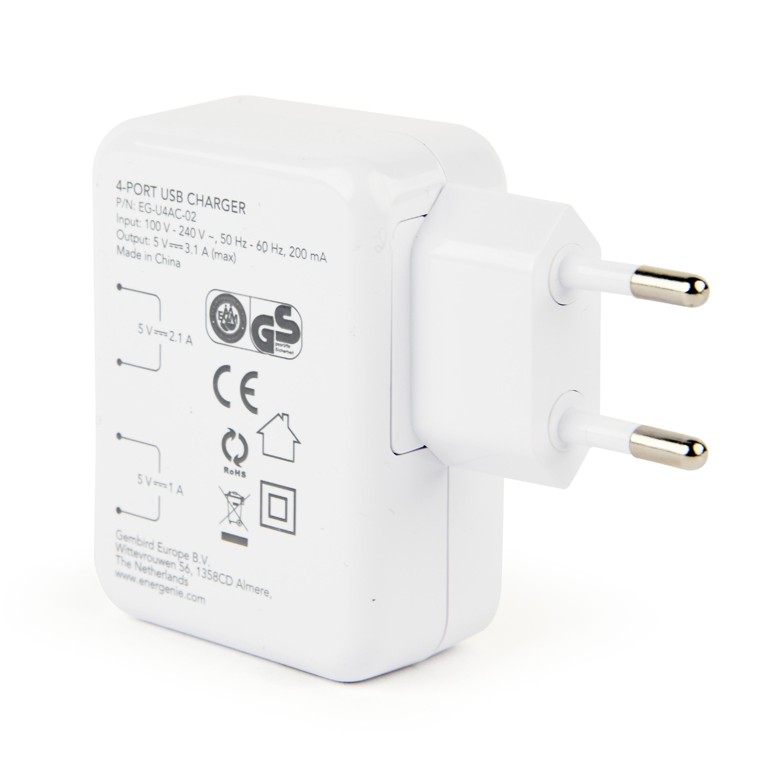 EnerGenie, universele USB lader, 15 Watt, 3.1 A, 4 uitgangsaansluitingen (4 x USB) - wit