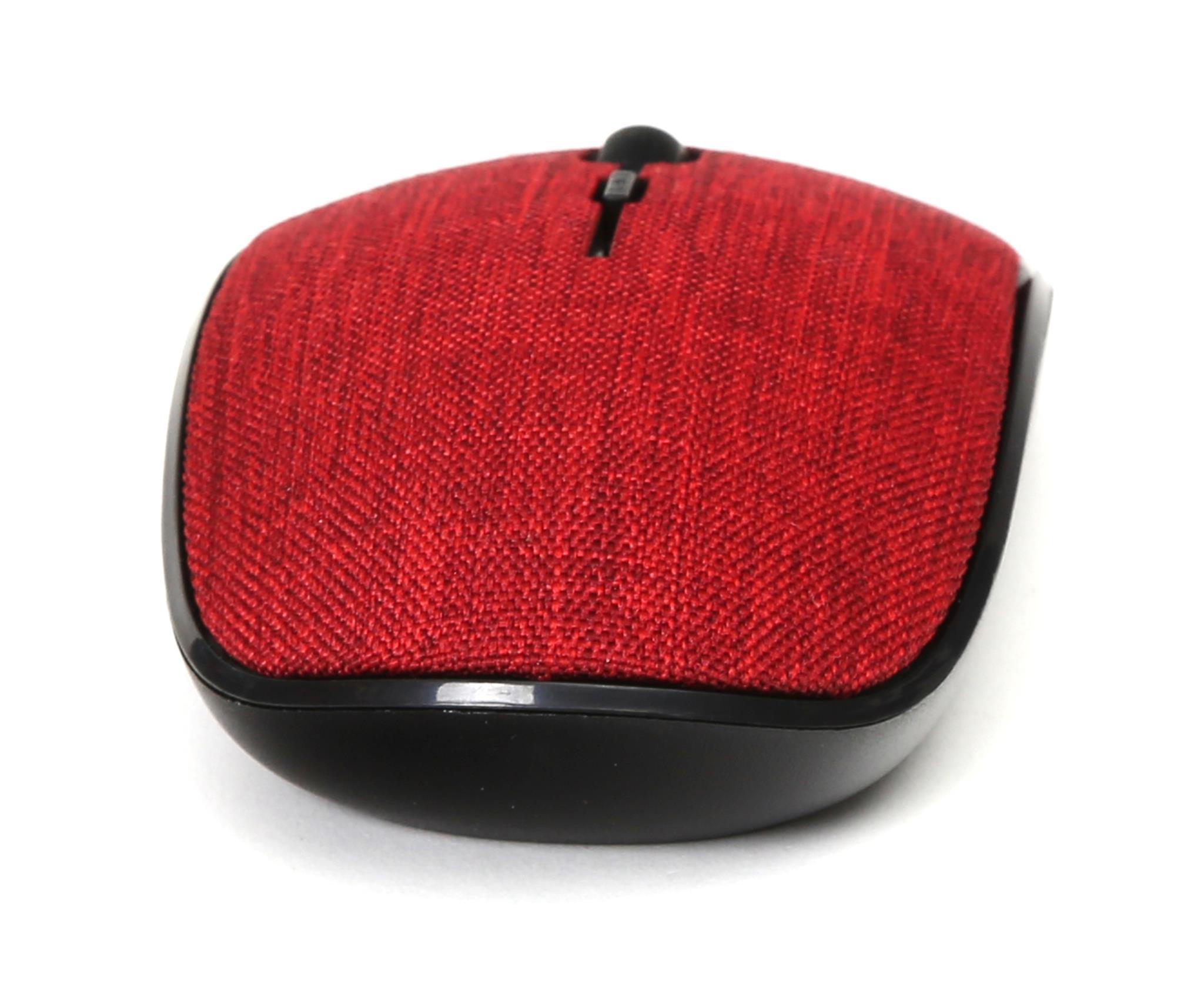 Omega wireless muis met rode stoffen bekleding, 2.4 GHz receiver, 1000/1200/1600DPI instelbaar