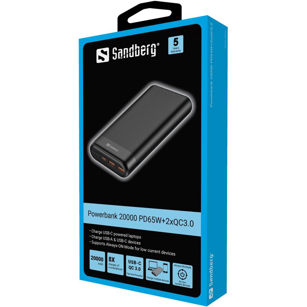 Sandberg Powerbank 20000 PD65W+2xQC3.0
