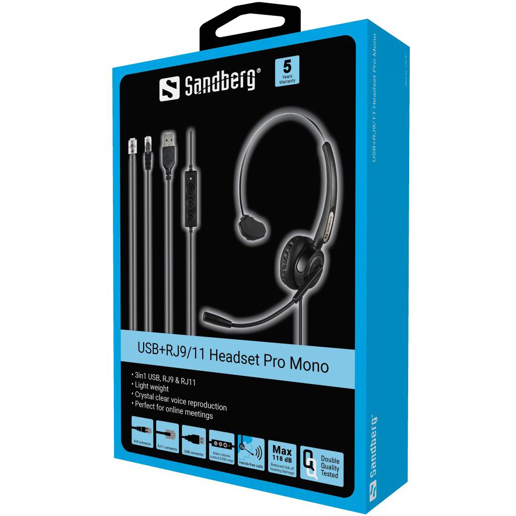 Sandberg USB+RJ9/11 Headset Pro Mono