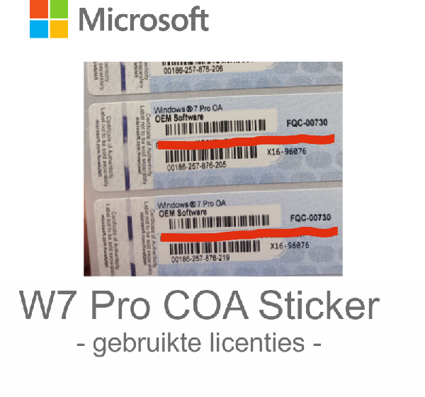 Microsoft Windows 7 Pro OEM 64 bit, 24 languages branded / COA sticker only