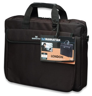 Manhattan London Notebook Computer Briefcase, Top Load, Fits Most Widescreens Up To 15.6inch, Black, interior 29 x 39 x 5