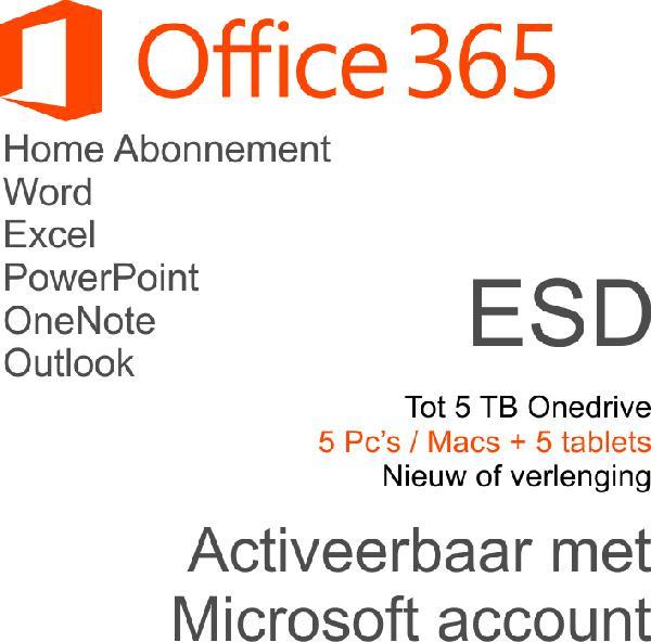 Microsoft Office 365 Home Premium Nederlands - 5 computers en 5 tablets - 1 jaar - ESD