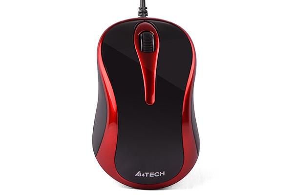 A4Tech V-Track muis, zwart met rood, werkt op bijna alle oppervlaken
