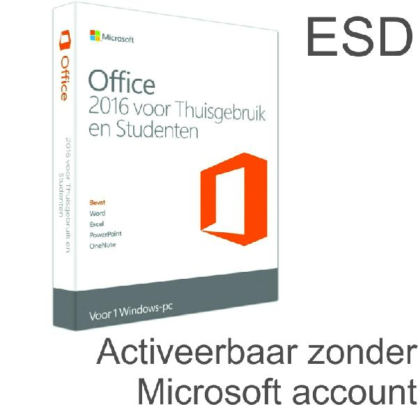 Microsoft Office 2016 Home and Student, 1 User (Word, Excel, Powerpoint) - ESD, activeren binnen 1 maand