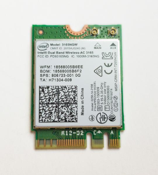 Giada WiFi en Bluetooth module, M.2 2230, Intel AC-3165, 802.11ac + Bluetooth 4.2