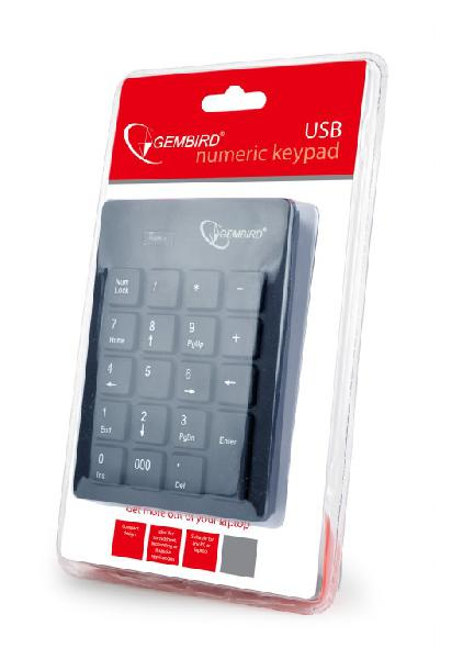 Gembird USB numeriek toetsenbord, 20 keys met geintegreede USB kabel 1,5m