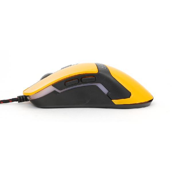 VARR OM-270 6 knops Gaming Mouse 1200-1600-2400-3200DPI geel met anti=zweet coating en multi-color LED verlichting