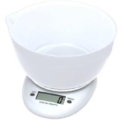 Omega keukenweegschaal met 1,5 liter schaal, max 3kg, nauwkeurigheid 1g, 1x CR2032 (ingebrepen) - wit