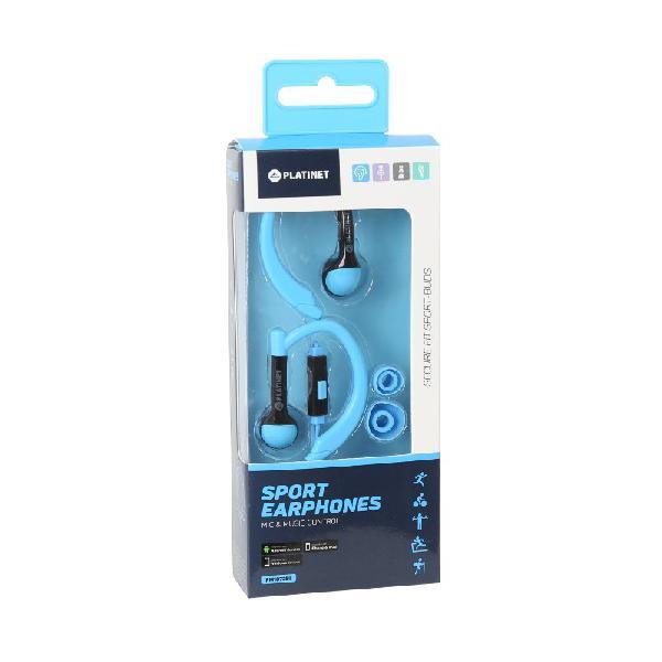 PLATINET IN-EAR EARPHONES + MIC SPORT PM1072 BLUE [42937