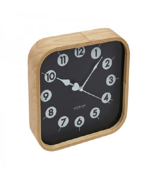 PLATINET Wandklok - MORNING - houtkleur met zwarte wijzerplaat, 23x23x5cm, 1x AA batterij (inbegrepen)