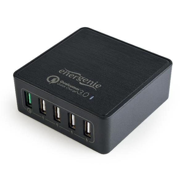 Energenie USB snellader QC3.0 zwart 5-poorts, 1x QC-poort, 4x standaard poorten, maximaal 8A