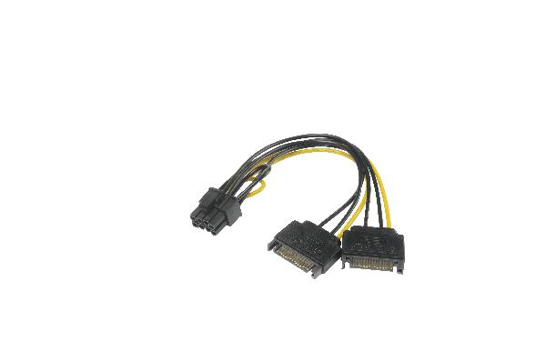 Akasa SATA power to 6+2pin PCIe adapter, 2 x SATA (male) power to 6+2pin PCIe (female) connector