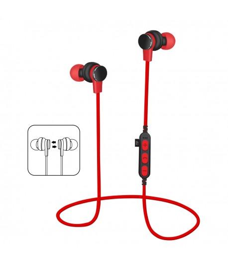 Platinet In-Ear Earphones Bluetooth V4.2 + microSD + MIC - model 1061 - Rood