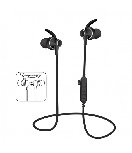 Platinet In-Ear Earphones Bluetooth V4.2 + microSD + MIC - model 1062 met oorclip - Zwart