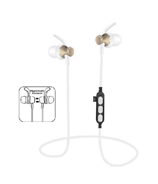 Platinet In-Ear Earphones Bluetooth V4.2 + microSD + MIC - model 1062 met oorclip - Goud